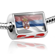 Bead with Hearts Serbian 3D Flag - Charm Fit All European Bracelets , Neonblond