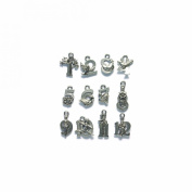 Shipwreck Beads Pewter 12 Days of Christmas Gold Double Side Charm Set, Metallic, Silver, 16mm to 22mm