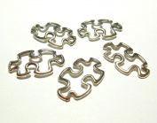 Puzzle Piece Autism Aspergers Awareness Silver Open Charms 1-1/8in 30mm Package of 10 Charms