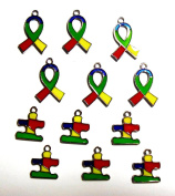 12 Autism Awareness Puzzle Piece & Ribbon Colourful Enamelled Charms Aspergers Awareness Package of 12 Charms