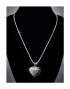 Rhinestone Heart Necklace, Crystal/Black/Jet Hematite/Silver NEC-2027A