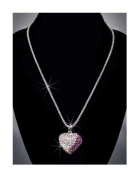 Rhinestone Heart Necklace, Light Pink/Cystal AB/Purple/Silver NEC-2027C