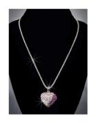 Rhinestone Heart Necklace, Light Pink/Cystal AB/Purple/Silver NEC-2027C
