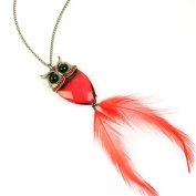 Wholesale Red Owl Pendant Necklace with Feather, NL-1740