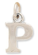 11.5x9.5mm Greek Alphabet Letter Charm - Rho .925 Sterling Silver