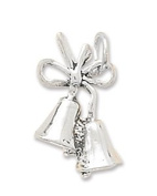 14x13mm Wedding Bells Charm .925 Sterling Silver