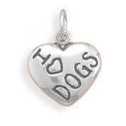 17x10mm I Love DOGS Charm .925 Sterling Silver