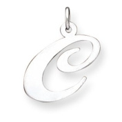 Genuine .925 Sterling Silver Large Fancy Script Initial C Charm. 100% Satisfaction Guaranteed.