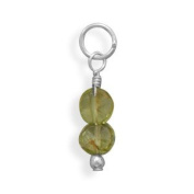 Peridot Coin Bead Charm - August Birthstone 925 Sterling Silver