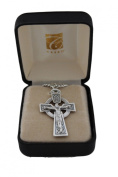4.1cm Celtic Crucifix in Oxidised Silver on a 60cm genuine rhodium-plated chain and beautifully gift boxed