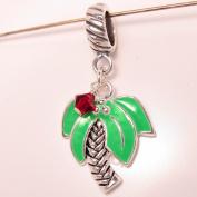 Palm Tree Enamel with Ruby Swarovsky Silver Plated Dangle Charm