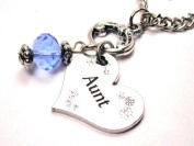 Aunt Heart Charm Light Blue Accent Crystal 46cm Fashion Necklace