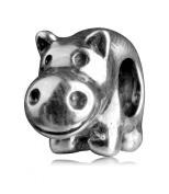 .925 Sterling Silver Adorable Hippo Fits Pandora, Biagi, Troll, Chamilla and Many Other European Charm #EC358