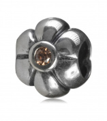 .925 Sterling Silver Flower Bead With Stone Fits Pandora, Biagi, Troll, Chamilla and Many Other European Charm #EC8
