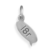 Sterling Silver Text Message Bubble Charm With L8r Measures 6mm X 17mm - JewelryWeb