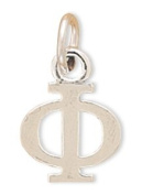 12x11mm Greek Alphabet Letter Charm - Phi .925 Sterling Silver