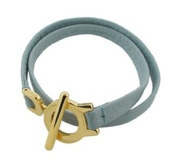 Leather Bracelet Double Wrap Gold Plated Clasp Light Blue Leather Fits 7.5 wrist