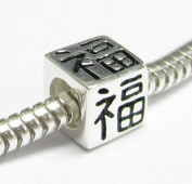 Sterling Silver Chinese Lucky FORTUNE Bead Tube fit Pandora European Charm Bracelets