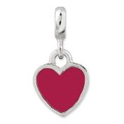Sterling Silver Pink Enamel Heart Enhancer Charm - JewelryWeb