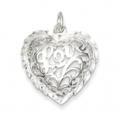 Sterling Silver Diamond-Cut Heart Charm - JewelryWeb