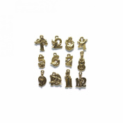 Shipwreck Beads Pewter 12 Days of Christmas Gold Double Side Charm Set, Metallic, Antique Gold, 16mm to 22mm