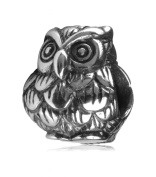 .925 Sterling Silver Owl King Fits Pandora, Biagi, Troll, Chamilla and Many Other European Charm #EC164