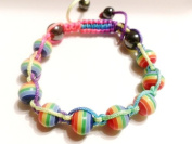 New Adjustable Handmade Shamballa Acrylic Beads Rainbow Hematite Bracelet
