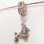 French Poodle Small Dog Sterling Silver Dangle Charm