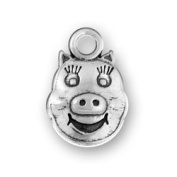 Sterling Silver 3D Pig Face Animal Charm With Animated Features