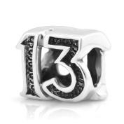 925 Sterling Silver Lucky #13 Bead Charm Fits Pandora Bracelet