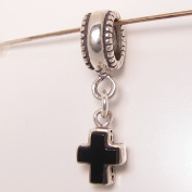Black Stone Cross Sterling Silver Tiny Dangle Charm