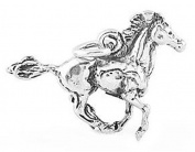 Sterling Silver Three Dimensional Running Mustang Stallion Horse Charm