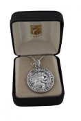 2.5cm Diameter St Saint Christopher Medal in Oxidised Silver on a 50cm genuine rhodium-plated chain and beautifully gift boxed