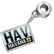 "Neonblond Bead/Charm ""Airport code ""HAV / Havana"" country"