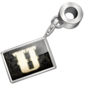 "Neonblond Bead/Charm ""characters, letter ""U"" WildWestBlack - Fits Pandora Bracelet"