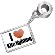 "Neonblond Bead/Charm ""I Love kite fighting"" - Fits Pandora Bracelet"