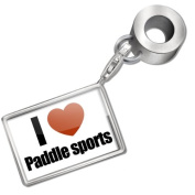 "Neonblond Bead/Charm ""I Love paddle sports"" - Fits Pandora Bracelet"