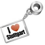 """Neonblond Bead/Charm """"I Love Stuttgart"""" region"""