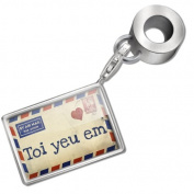 "Neonblond Bead/Charm ""I Love You"" Vietnamese Love Letter from Vietnam - Fits Pandora Bracelet"