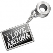 "Neonblond Bead/Charm Chalkboard with ""I Love Arizona"" - Fits Pandora Bracelet"