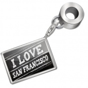 "Neonblond Bead/Charm Chalkboard with ""I Love San Francisco"" - Fits Pandora Bracelet"