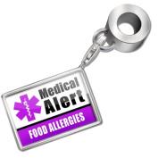 "Neonblond Bead/Charm Medical Alert Purple ""Diabetic"" - Fits Pandora Bracelet"