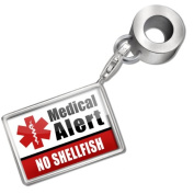 "Neonblond Bead/Charm Medical Alert Red ""Allergic to Cats"" - Fits Pandora Bracelet"