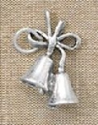 Sterling Silver Charm, 1.9cm long, Wedding Bells