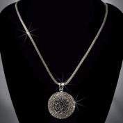 Crystal Rhinestone Round Pendant Necklace, Crystal/Jet Hematite/Gunmetal NEC-2029B