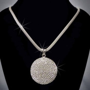 Crystal Rhinestone Round Pendant Necklace, Crystal/Silver NEC-2029A