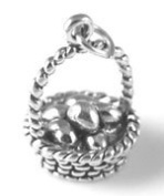 Sterling Silver Easter Basket with Eggs Charm with Split Ring #3137