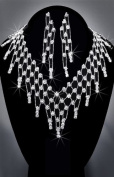 Crystal Rhinestone Necklace Chain and Earring Set, Crystal/Silver, NEC-2099