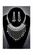 Crystal Rhinestone Necklace Chain and Earring Set, Crystal/Silver NEC-2009