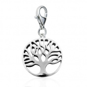 Chuvora Sterling Silver Cut Out Tree of Life symbolic w/ Lobster Clasp Charm for Charm Bracelet